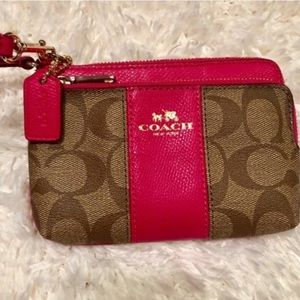 Authentic Coach Double Zip Wristlet Tan & Pink NWT